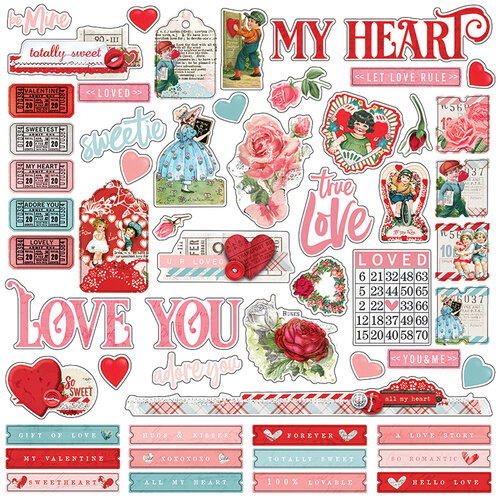 Simple Stories - Simple Vintage My Valentine Collection - 12 x 12 Cardstock Combo Sticker