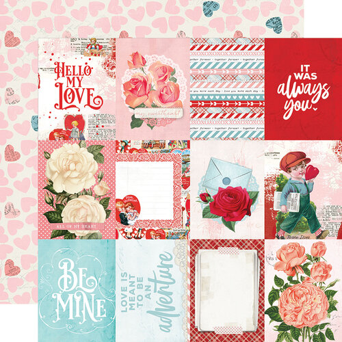 Simple Stories - Simple Vintage My Valentine Collection - 12 x 12 Double Sided Paper - 3x4 Elements