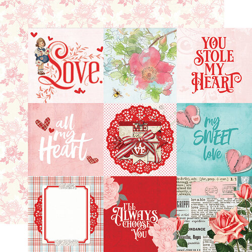 Simple Stories - Simple Vintage My Valentine Collection - 12 x 12 Double Sided Paper - 4x4 Elements