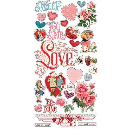 Simple Stories - Simple Vintage My Valentine Collection - 6 x 12 Chipboard Stickers