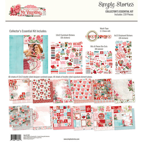 Simple Stories - Simple Vintage My Valentine Collection - 12 x 12 Collectors Essential Kit