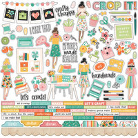 Simple Stories - Hey Crafty Girl Collection - 12 x 12 Cardstock Combo Sticker