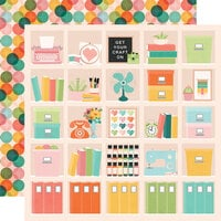 Simple Stories - Hey Crafty Girl Collection - 12 x 12 Double Sided Paper - Happy Place