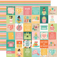 Simple Stories - Hey Crafty Girl Collection - 12 x 12 Double Sided Paper - 2x2 Elements