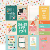 Simple Stories - Hey Crafty Girl Collection - 12 x 12 Double Sided Paper - 3x4 Elements