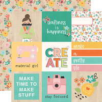 Simple Stories - Hey Crafty Girl Collection - 12 x 12 Double Sided Paper - 4x4 Elements