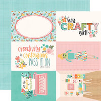 Simple Stories - Hey Crafty Girl Collection - 12 x 12 Double Sided Paper - 4x6 Elements