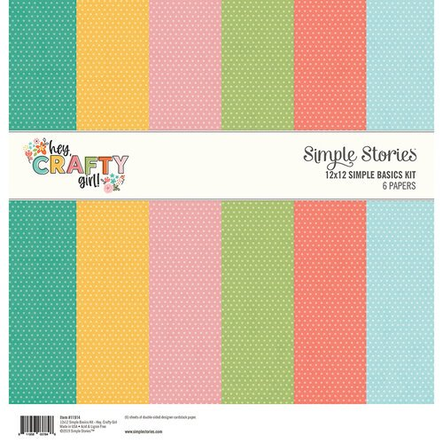 Simple Stories - Hey Crafty Girl Collection - 12 x 12 Simple Basics Kit