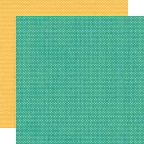Simple Stories - Hey Crafty Girl Collection - 12 x 12 Double Sided Paper -Turquoise and Sunflower Dots