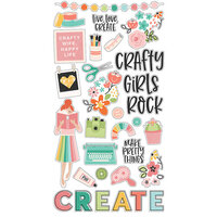 Simple Stories - Hey Crafty Girl Collection - 6 x 12 Chipboard Stickers