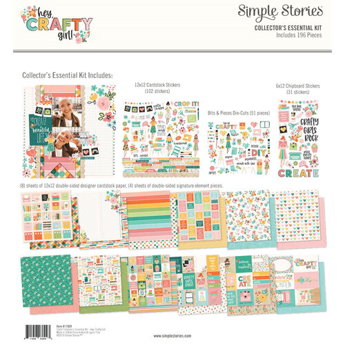Simple Stories - Hey Crafty Girl Collection - 12 x 12 Collectors Essential Kit