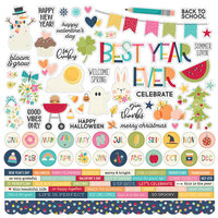 Simple Stories - Best Year Ever Collection - 12 x 12 Stickers - Combo