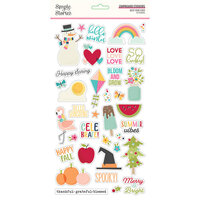 Simple Stories - Best Year Ever Collection - 6 x 12 Chipboard Stickers