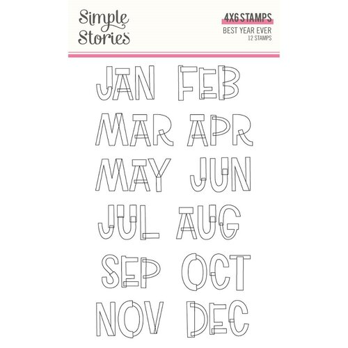 Simple Stories - Best Year Ever Collection - Clear Photopolymer Stamps