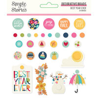 Simple Stories - Best Year Ever Collection - Decorative Brads