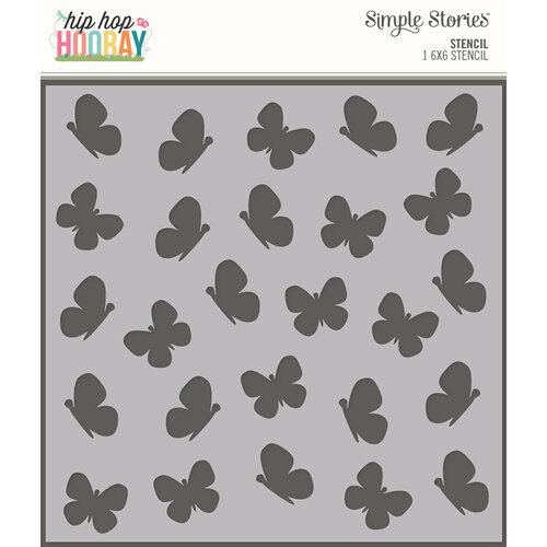 Simple Stories - Hip Hop Hooray Collection - 6 x 6 Stencil - Butterflies