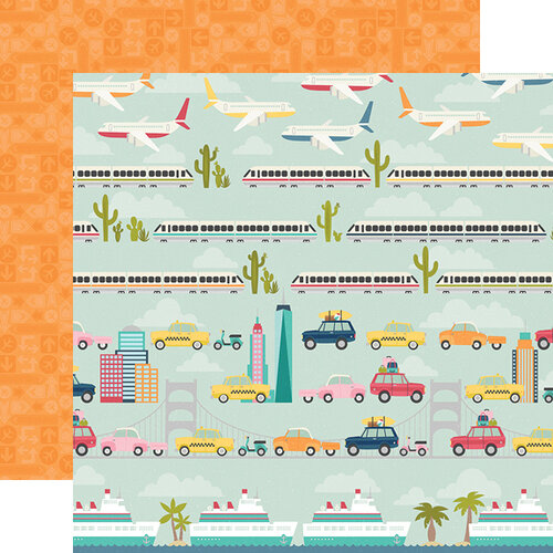 Simple Stories - Going Places Collection - 12 x 12 Double Sided Paper - Enjoy the Ride