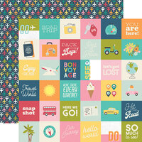 Simple Stories - Going Places Collection - 12 x 12 Double Sided Paper - 2 x 2 Elements