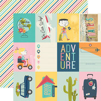 Simple Stories - Going Places Collection - 12 x 12 Double Sided Paper - 3 x 4 Elements