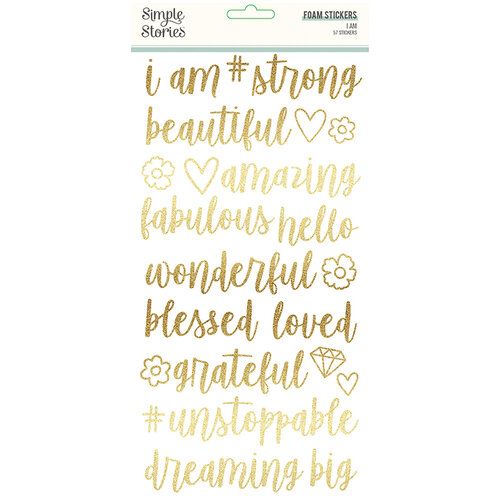 Simple Stories - I Am Collection - Foam Stickers with Foil Accents