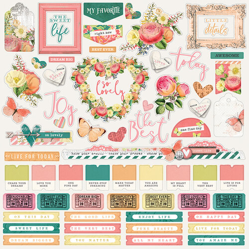 Simple Stories - Simple Vintage Garden District Collection - 12 x 12 Cardstock Stickers - Combo