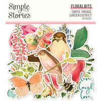Simple Stories - Simple Vintage Garden District Collection - Ephemera - Floral Bits and Pieces