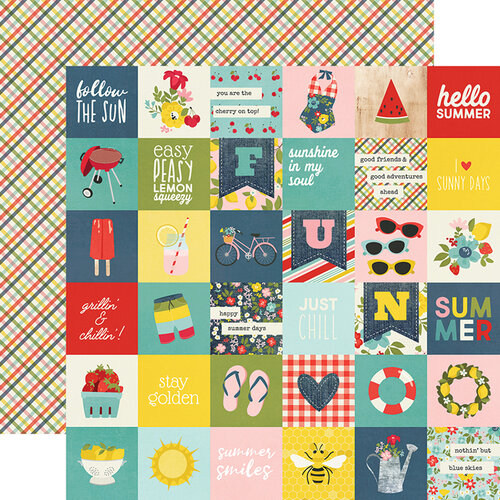 Simple Stories - Summer Farmhouse Collection - 12 x 12 Double Sided Paper - 2 x 2 Elements
