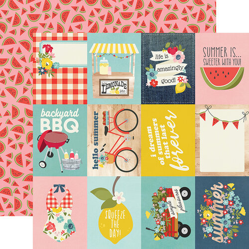 Simple Stories - Summer Farmhouse Collection - 12 x 12 Double Sided Paper - 3 x 4 Elements