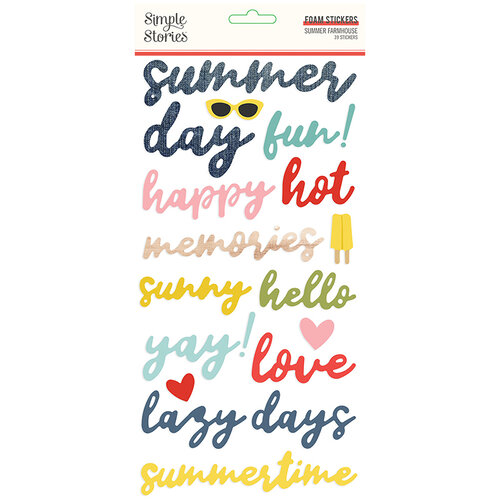 Simple Stories - Summer Farmhouse Collection - Foam Stickers