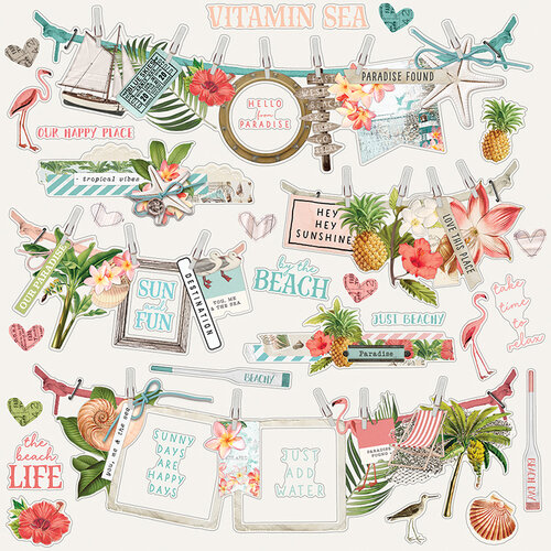 Simple Stories - Simple Vintage Coastal Collection - 12 x 12 Cardstock Stickers - Banner