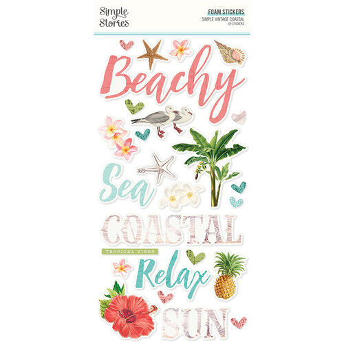 Simple Stories - Simple Vintage Coastal Collection - Foam Stickers