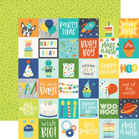 Simple Stories - Birthday Blast Collection - 12 x 12 Double Sided Paper - 2 x 2 Elements