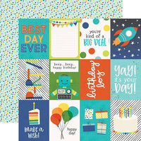 Simple Stories - Birthday Blast Collection - 12 x 12 Double Sided Paper - 3 x 4 Elements
