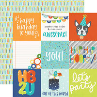 Simple Stories - Birthday Blast Collection - 12 x 12 Double Sided Paper - 4 x 4 Elements