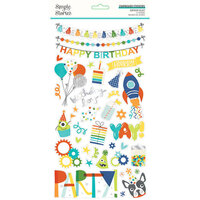 Simple Stories - Birthday Blast Collection - 6 x 12 Chipboard Stickers with Foil Accents