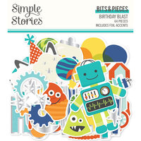 Simple Stories - Birthday Blast Collection - Ephemera - Bits and Pieces with Foil Accents