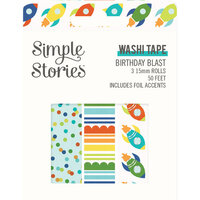 Simple Stories - Birthday Blast Collection - Washi Tape with Foil Accents