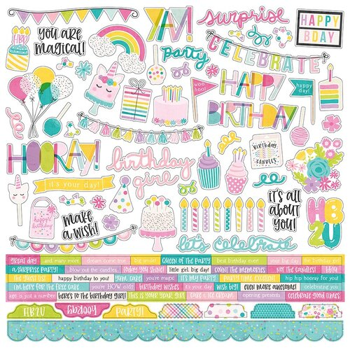 Simple Stories - Magical Birthday Collection - 12 x 12 Cardstock Stickers - Combo