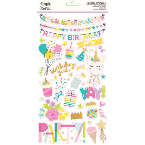 Simple Stories - Magical Birthday Collection - 6 x 12 Chipboard Stickers with Foil Accents