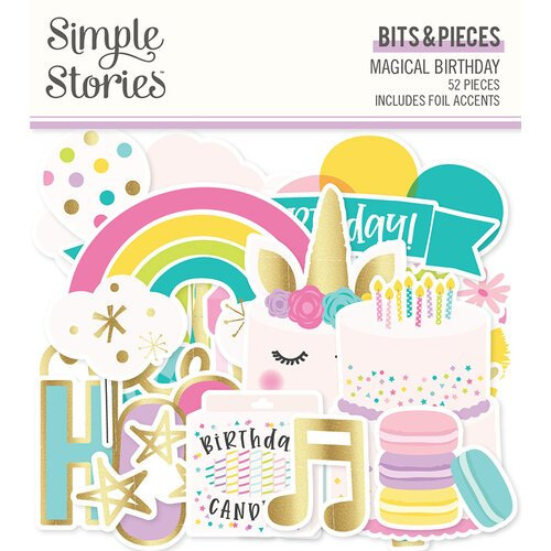 Simple Stories - Magical Birthday Collection - Ephemera - Bits and Pieces with Foil Accents