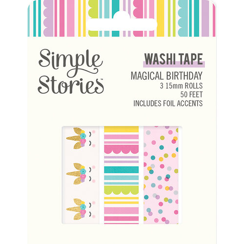 Simple Stories - Magical Birthday Collection - Washi Tape with Foil Accents