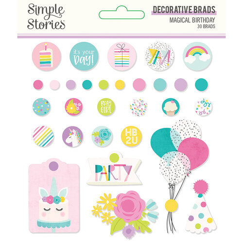 Simple Stories - Magical Birthday Collection - Decorative Brads