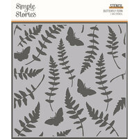 Simple Stories - Simple Vintage Great Escape Collection - 6 x 6 Stencil - Butterfly Fern