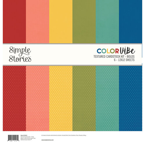 Simple Stories - Color Vibe Collection - 12 x 12 Textured Cardstock Kit - Bolds