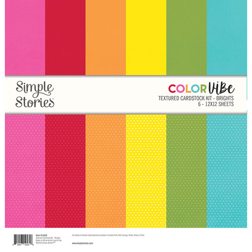 Simple Stories - Color Vibe Collection - 12 x 12 Textured Cardstock Kit - Brights