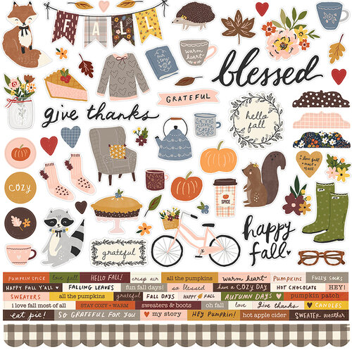 Simple Stories - Cozy Days Collection - 12 x 12 Cardstock Stickers