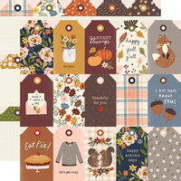 Simple Stories - Cozy Days Collection - 12 x 12 Double Sided Paper - Tags