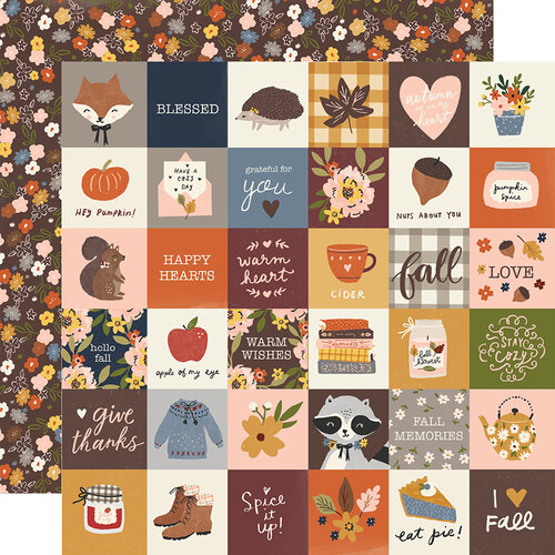 Simple Stories - Cozy Days Collection - 12 x 12 Double Sided Paper - 2 x 2 Elements