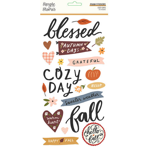 Simple Stories - Cozy Days Collection - Foam Stickers