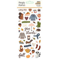 Simple Stories - Cozy Days Collection - Puffy Stickers